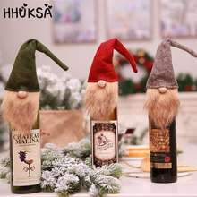 1Pc Cute Faceless Doll Red Wine Bottle Decor Christmas Decorations For Home New Year Dining Table