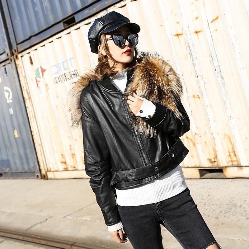 Leather Jacket Women Korean Sheepskin Genuine Leather Jacket Raccoon Fur Collar Autumn Winter Coat Women Veste Femme YY845