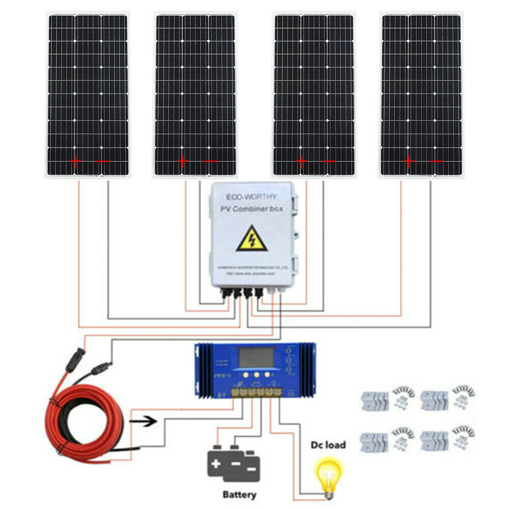 ECOWORTHY 400W Off Grid Complete Solar Panel Systems with Z Brackets MPPT Solar Combiner 4pcs Solar
