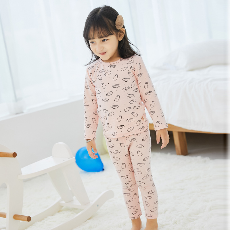 2019 Autumn And Winter New Style Children Clothing Home Clothes Korean-style Thick Pure Cotton Cartoon Printed CHILDREN'S Pajama