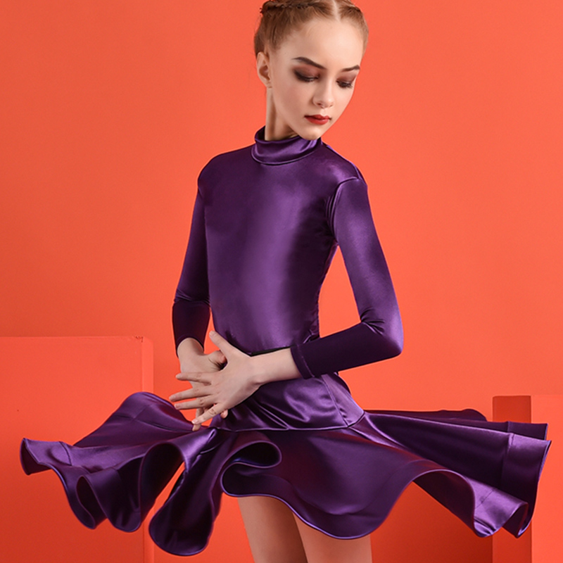 2020 New Latin Dance Competition Special Clothing Children Girls Long Sleeves Performing Two-Piece Suit For Samba Dance DWY3162
