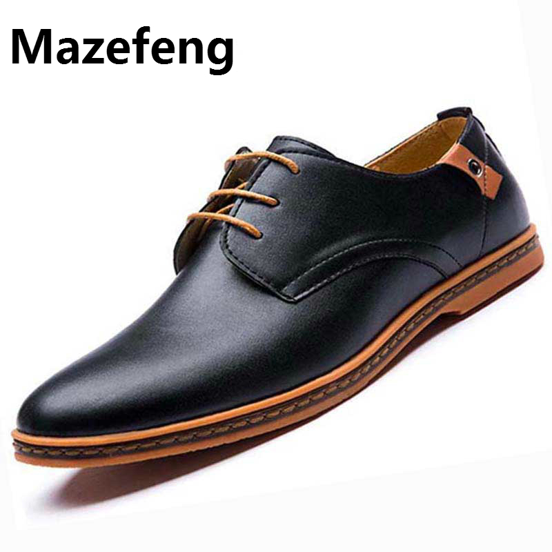 Mazefeng Men Leather Shoes Plus Size 41-48 Dress Shoes Business Black Flats Oxfords Comfortable Footwear Sapato Social Masculino