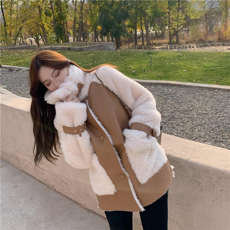 Winter Women High Quality Fur Coat Loose Collar Design Integrated Long Splicing Single breasted Cotton padded Winter Women High Quality Fur Coat Loose Collar Design Integrated Long Splicing Single-breasted Cotton-padded Pocket Jackets