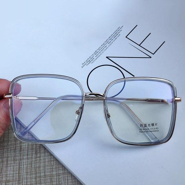 Big Frame Square Anti-blue Light Glasses Frame Oversized Computer Eyewear Frame For Women&Men Square Optical Glasses Eyeglasses 5