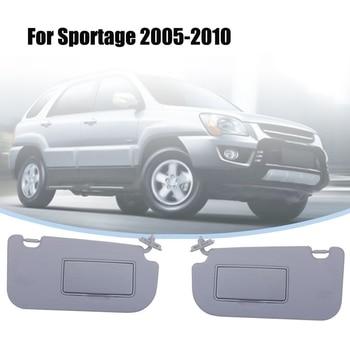 1Pair Car Inner Sun Visor Shield Shade Board with Mirror for KIA Sportage 2005 2006 2007 2008 2009 2010 Grey