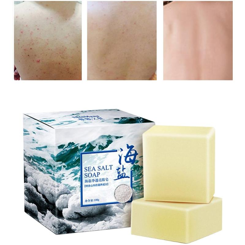 100g Removal Pimple Pore Acne Treatment Sea Salt Soap Whitening Cleaner Moisturizing Goat Milk Soap Face Care Wash Basis Soap