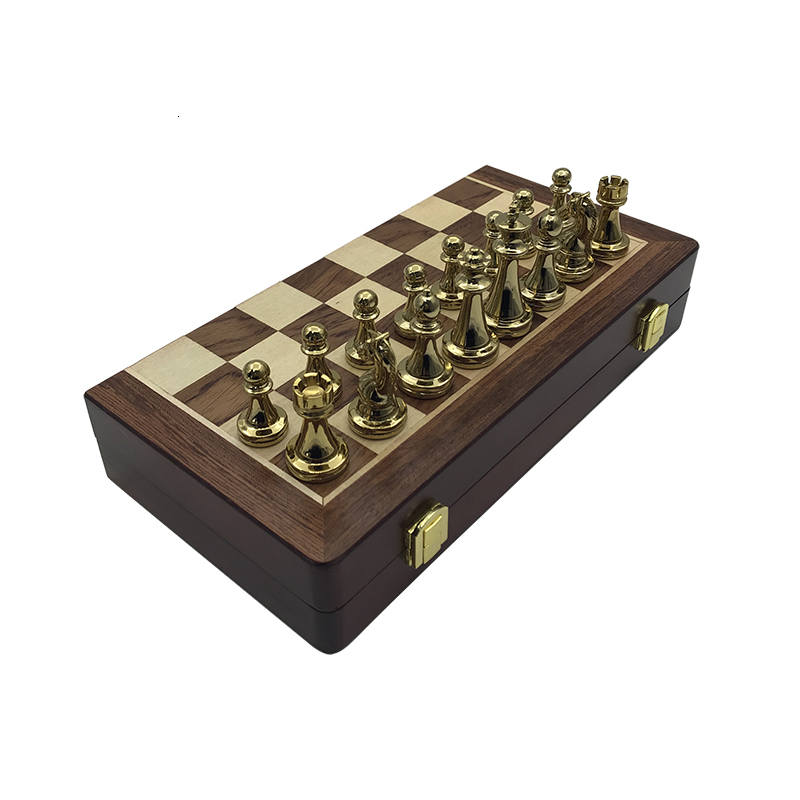 New Wooden Folding Chessboard Retro Metal Alloy Chess Pieces Chess Game Set High Quality Chessboard Gift Entertainment Yernea 5