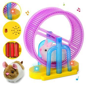 Hamster Roller Electric Toy Led Light Plush Hamster Runner Running Cage Ball New Strange Led Light Music Hamster Wheel