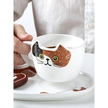 Ceramic Coffee Cup Set Cute Cat Mug Set Cartoon Cat Tea Cup with Saucer Spoon Breakfast Milk Coffee Mugs Bread Dessert Dish cartoon cute cup ceramic about 350ml mug breakfast coffee milk cup couple drinking cup creative student with cup handgrip mugs