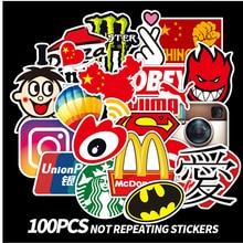 100 Fashion Brand Graffiti Stickers Laptop Guitar Water Cup