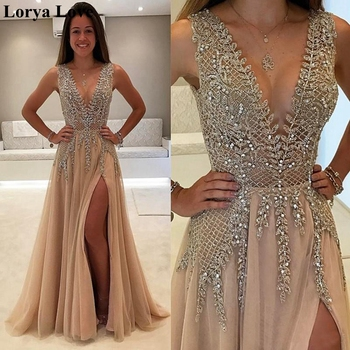 Rose Pink Tulle Maxi Sequins Prom Dresses 2020 Beading Crystal Women Party Long Vestidos Gala Backless Split Robes Evening Gowns - discount item  40% OFF Special Occasion Dresses