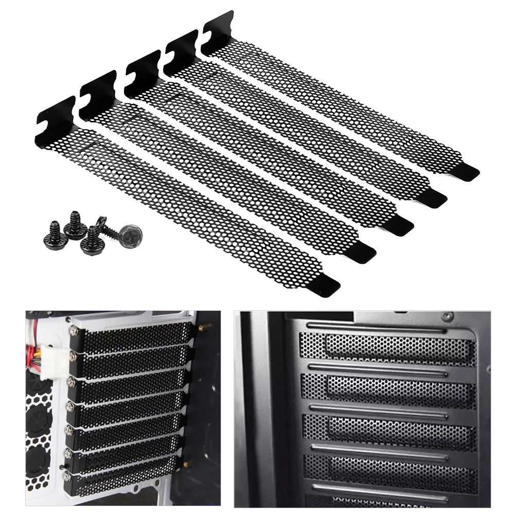 New 5Pcs/lot Black Hard Steel Dust Filter Blanking Plate PCI Slot Cover With Screws 1