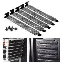 Novo 5 pçs/lote preto de aço duro filtro poeira blanking placa pci slot capa com parafusos