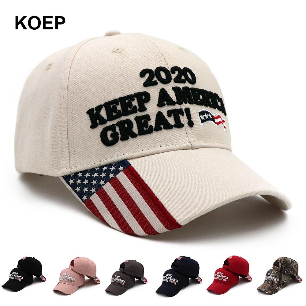 KOEP Donald Trump 2020 Cap Camouflage USA Flag Baseball Caps KEEP America Great Snapback President Hat Embroidery Drop Shipping(China)