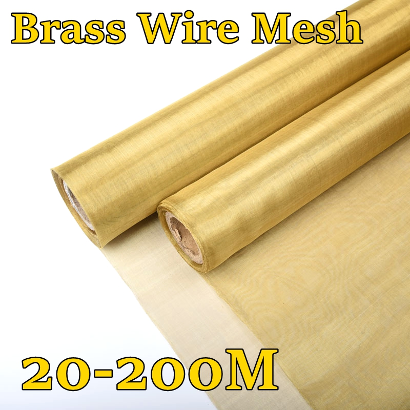 20-200M Brass Woven Wire Mesh Shielding Fabric 20 <font><b>60</b></font> <font><b>100</b></font> 200 Mesh Copper Wire Paint Filter Screen Non-magnetic Signal Screen Net image