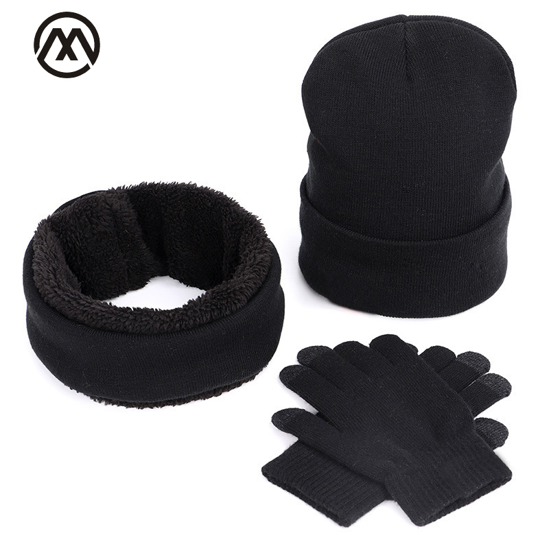 Winter Male / Female Warm Hat Set Scarf Gloves 3 Sets Of Outdoor Peas Headwear Ski Warm Mask Touch Screen Gloves Bib Hedging Cap