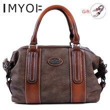 IMYOK sacs à main rétro en cuir véritable pour femmes, sac à bandoulière de grande capacité, nouvelle collection 2020