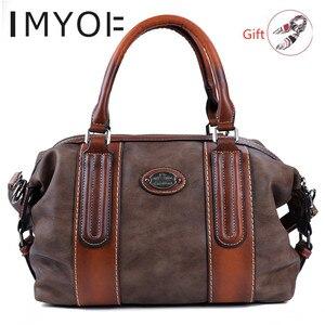 Image 1 - Imyok新トップハンドルバッグ女性のレトロな本革デザイナーハンドバッグクロスボディショルダーバッグ大容量財布 2020