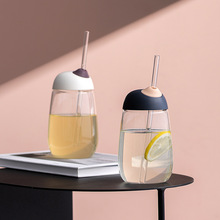 Glass Tumbler with Straw Water Bottle Cup for Juices Beverages Wide Mouth Drinking Caps