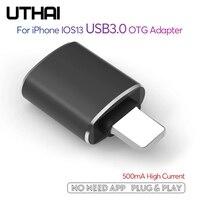 UTHAI-adaptador C56 USB 3,0 a Lightning, compatible con iPhone, iPad, IOS13, lector de tarjetas, compatible con ratón, unidad Flash USB de carga