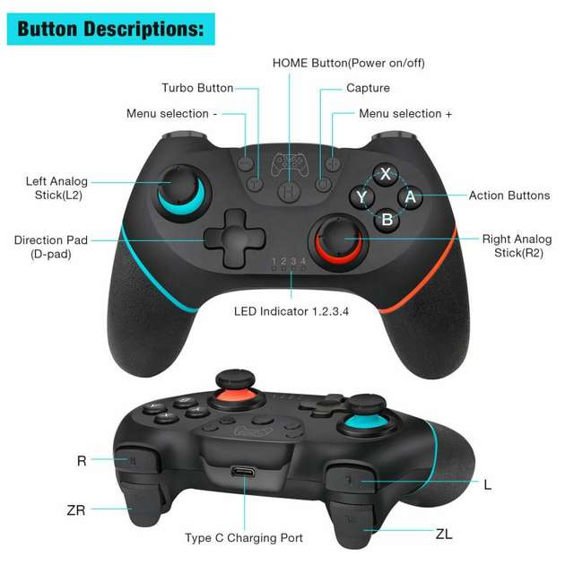 Wireless-Bluetooth Gamepad for Switch Pro NS-Switch Pro 6-Axis Handle Gaming Joystick Controller