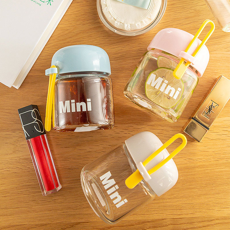 Glass Water Bottle Mini Kids Water Bottles Coffee Milk Mug Leakproof Cup with Tea Leak Portable Outdoor Travel Child Water Cups