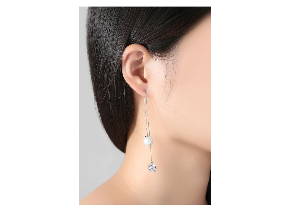 LUOTEEMI Brand Trendy Drop Earrings Double Side Shining CZ with Simulated Pearl Jewelry Ear Wire Long Chain Brincos for Girls 5