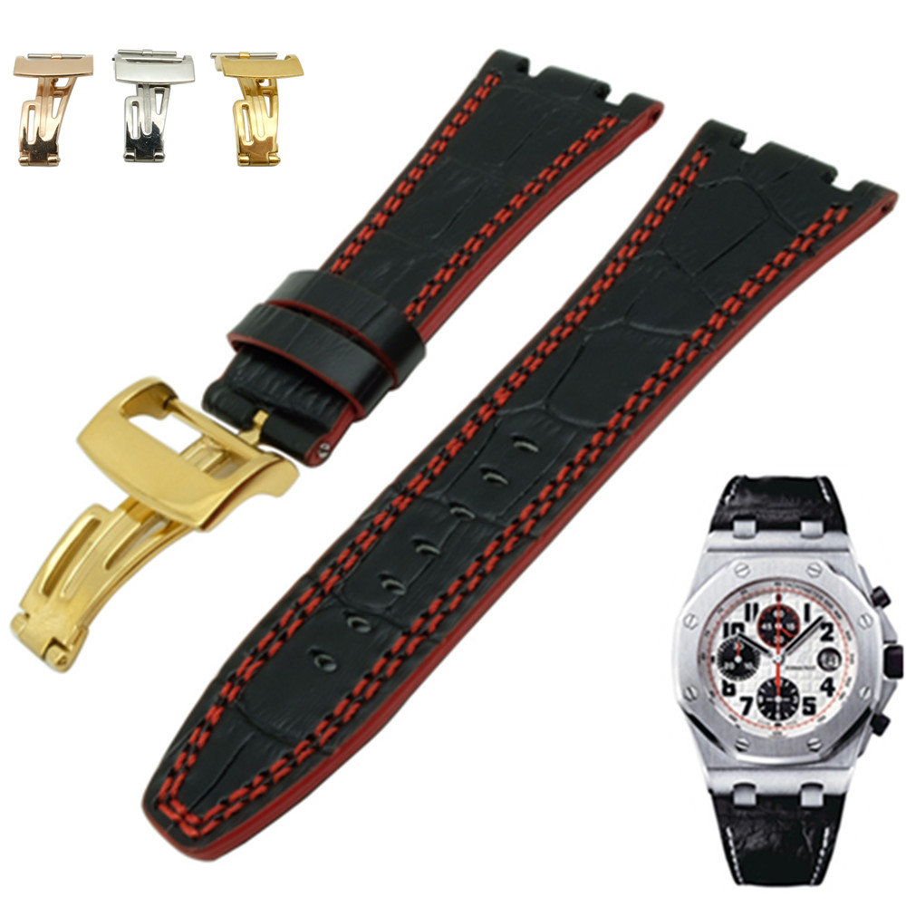 For Audemars 100% New 28 mm Genuine Leather handmade <font><b>watch</b></font> <font><b>band</b></font> Strap And Buckle Clasp For <font><b>AP</b></font> And Screw And Screwdriver image
