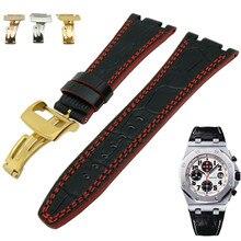 Para audemars 100% novo 28 mm couro genuíno artesanal pulseira de relógio e fivela fecho para ap e parafuso e chave fenda