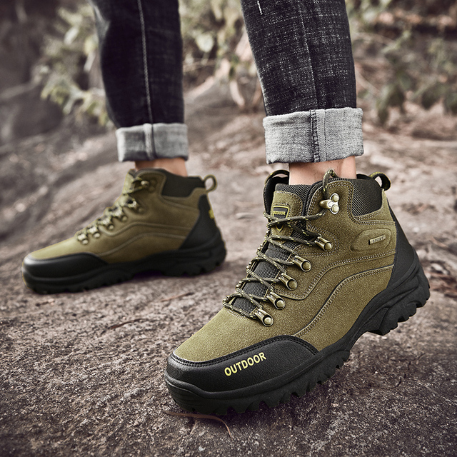 Large Size Outdoor Durable Hiking Shoes Waterproof Anti-Skid Climbing Shoes Tactical Hunting Boots Trekking Sports Sneakers Men 4