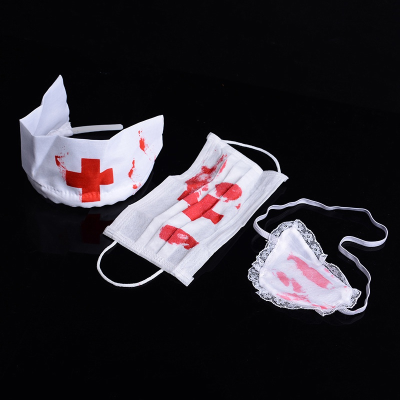 Bloody Nurse kit Mask Head piece Halloween accessory Dress up Costume