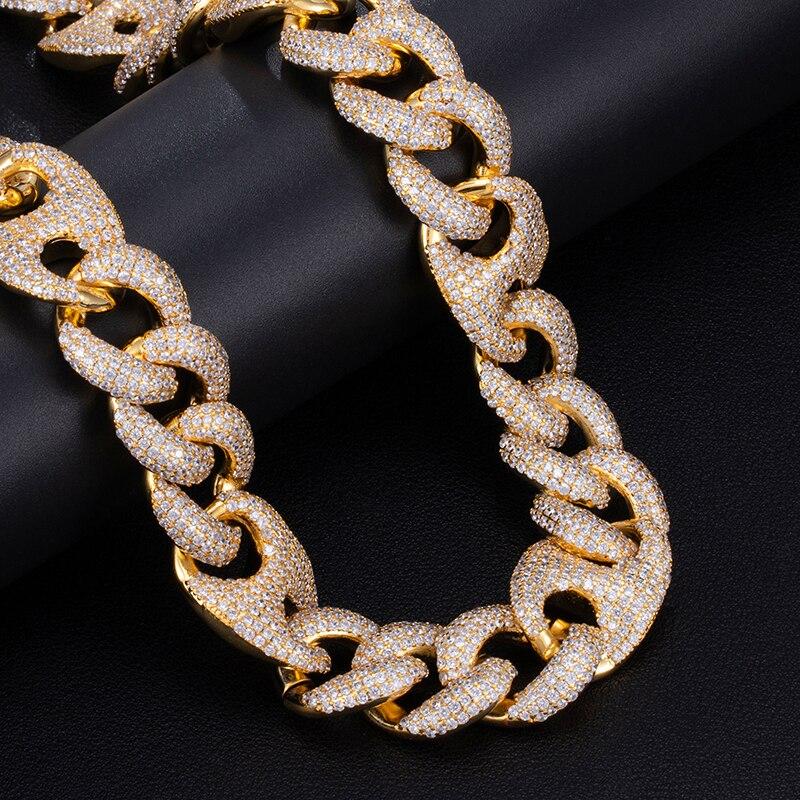 18MM ensemble Bling AAA CZ cubique zircone glacé boîte fermoir luxe cubain lien chaîne collier pour hommes rappeur Hip Hop bijoux 18''24'' - 3