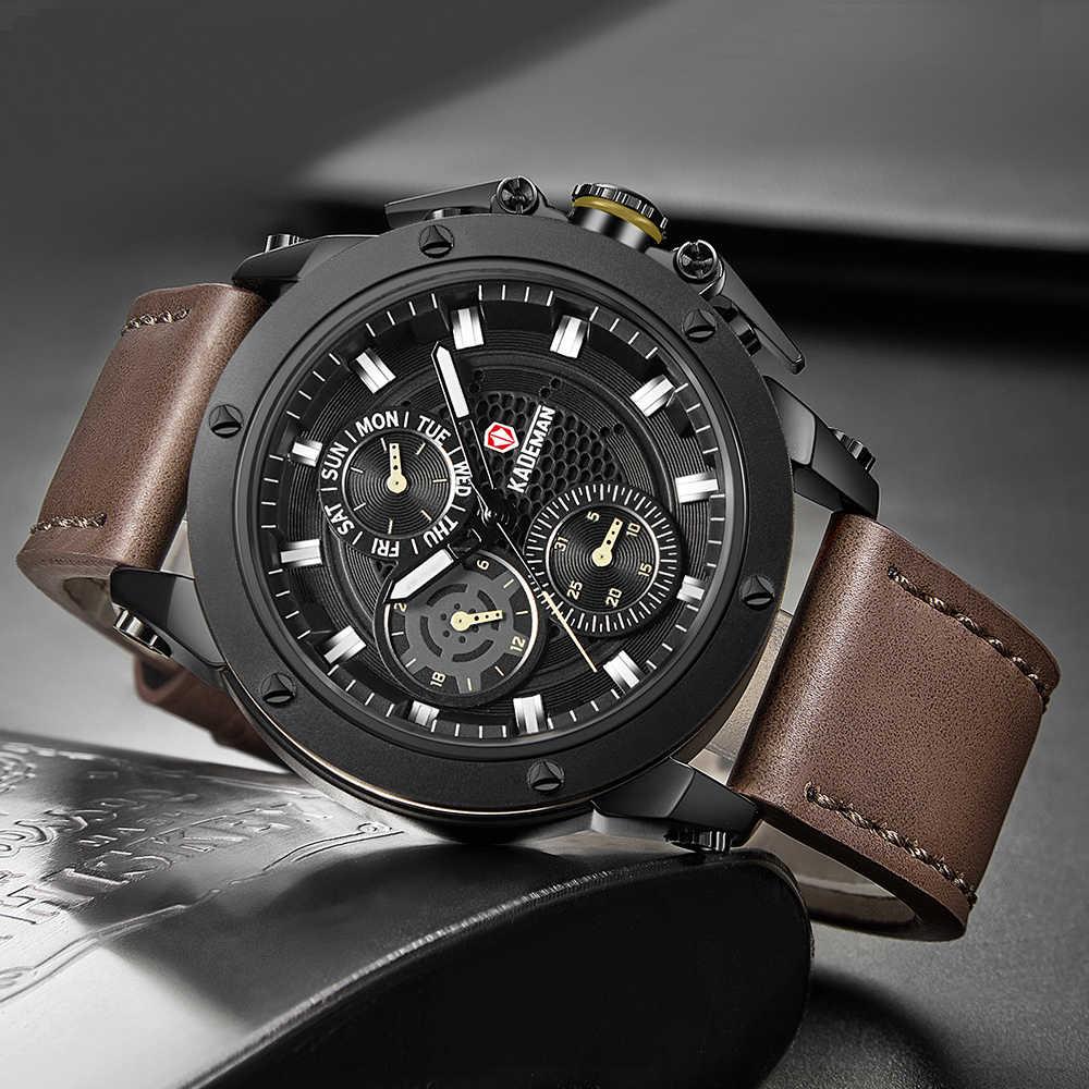 2020 hommes montre haut marque grand cadran Sport montres hommes de luxe Quartz montre-bracelet chronographe mâle marron montres Relogio Masculino