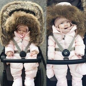 Image 3 - 2019 ฤดูหนาวหิมะหนาสวมเด็กวัยหัดเดินเด็กสาวฤดูหนาว Romper Hooded เด็ก Outwear Jumpsuit Coat เครื่องแต่งกาย