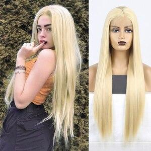 Image 1 - Karizma sentetik dantel ön peruk s sarışın peruk uzun düz saç doğal saç çizgisi dantel ön peruk kadın peruk yan kısmı