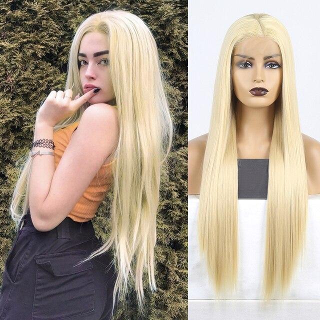 Karizma sentetik dantel ön peruk s sarışın peruk uzun düz saç doğal saç çizgisi dantel ön peruk kadın peruk yan kısmı