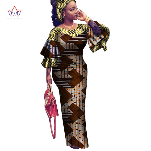 2021 African Traditional Wear For Women Maxi Long-party-dress Dashiki Africa Style Riche Bazin Femme Plus Size Outfits WY2561
