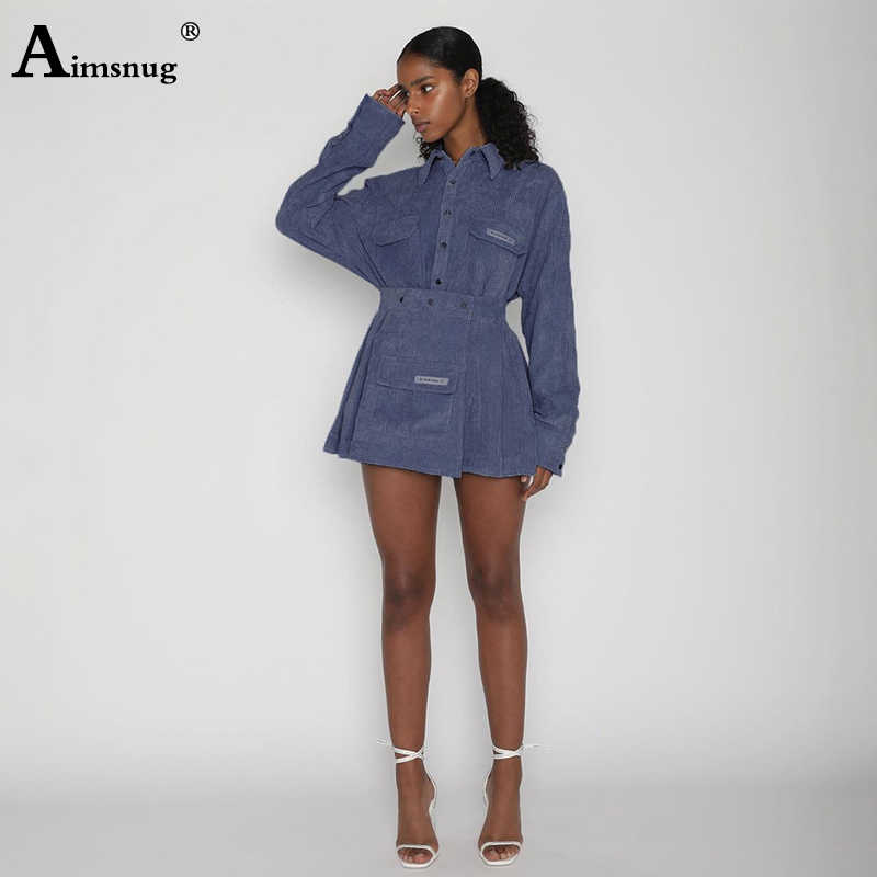 Aimsnug Long Sleeve 2019 Women Sets Two-piece suit Feminino Turn Down Collar Pocket Buttoned Shirt Outfits Casual Skirts Sets