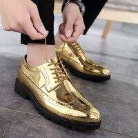Zapatos de cuero informales 2019  zapatos formales de cuero de superestrella para hombre  zapatos oxford dorados  zapatos de cordones plateados de talla grande 47 ghn