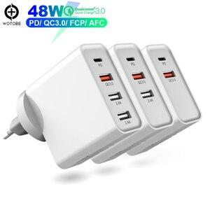 3-port qc3.0/fcp/afc carga de parede rápida, 1 porta pd 30 w usb c adaptador de alimentação, para mac livro iphone/ipad/pixel/samsung/huawei/um plus