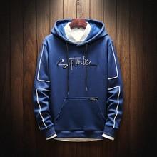 Embroidered hoodies men Fashion Hoodies Men Casual Hip Hop  Streetwear Sweatshirts Regular Fit Plus Size