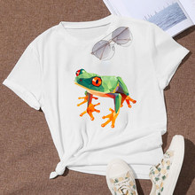Simplicity Vogue Oversize T Shirt Animals Green Frog Graphic New Women T-shirt Cartoon Design Punk Hot Selling Funny T Shirt(China)