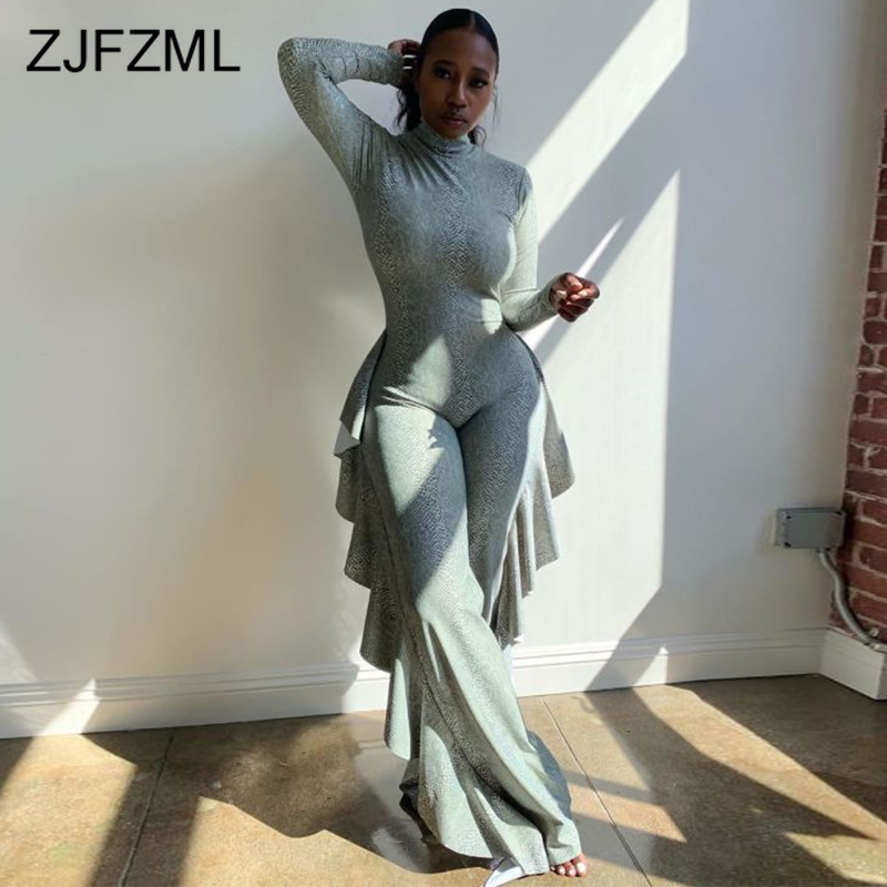 Ruffles Patchwork Plus Size Wide Leg Overall for Women Turtleneck Sexy One Piece Bodysuits Long Sleeve Loose Causal   Jumpsuits