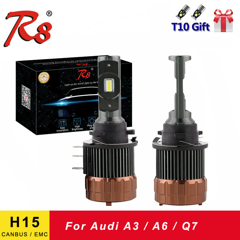 R8 CANBUS No Error/Flicker H15 Car LED Headlight Bulbs 12000Lm 6000K Day Time Running Light DRLs Replace For A3 A6 Q7 EMC
