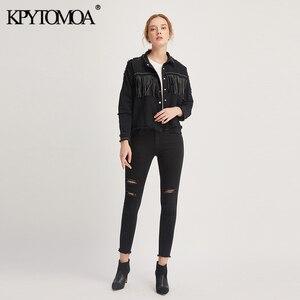 Image 2 - KPYTOMOA Women Fashion Tassel Beaded Oversized Denim Jacket Coat Women Vintage Long Sleeve Frayed Hem Female Outerwear Chic Tops