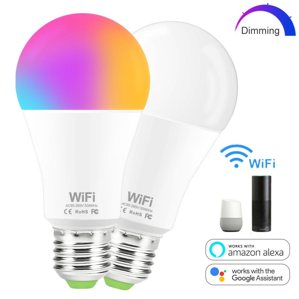 Умная лампа E27 B22 с Wi-Fi, светодиодный светильник для дома, 15 Вт, RGB/белый/теплый белый свет, с регулируемой яркостью, работает с Alexa/Google Home