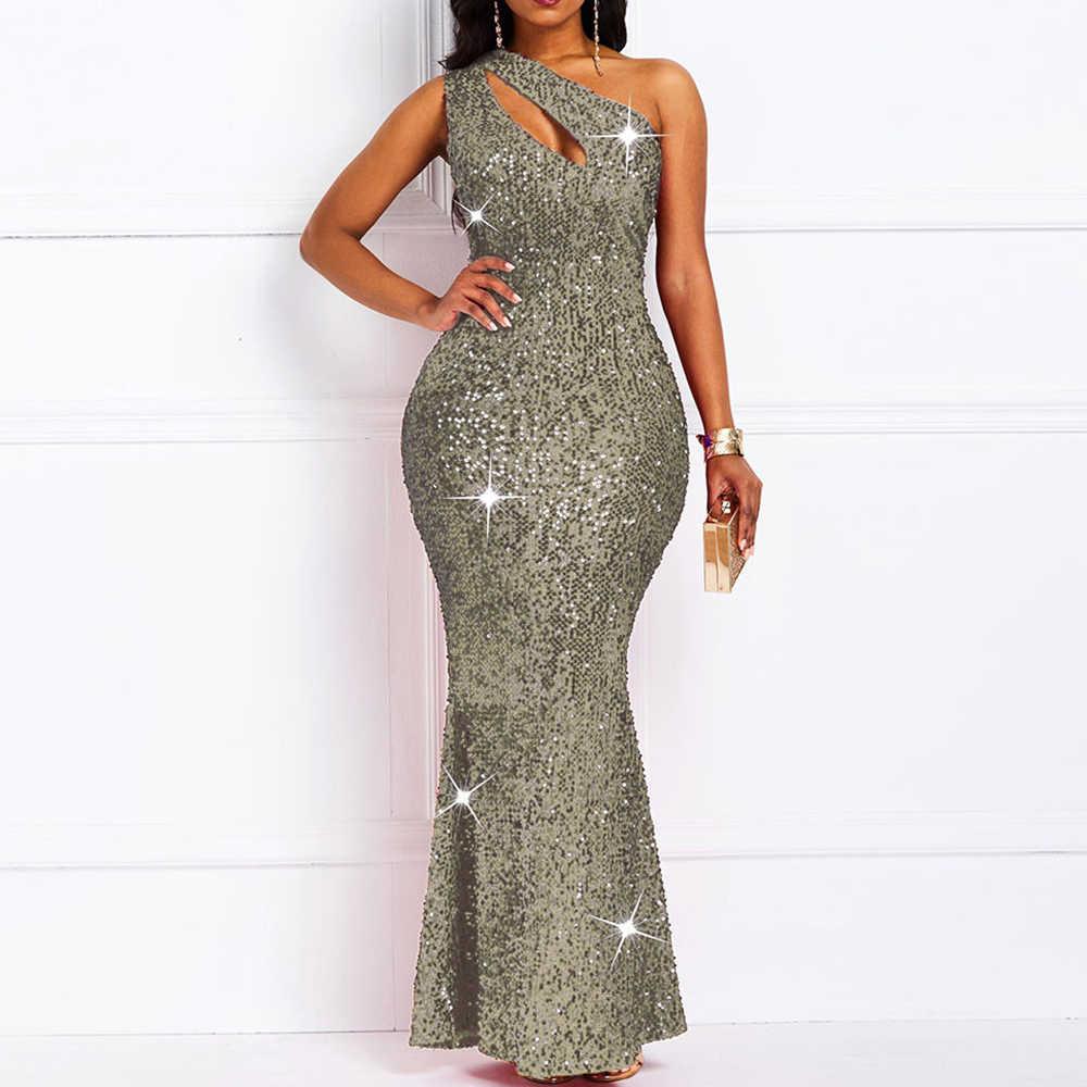 Luxus Goldene Reflektierende Sexy Pailletten Kleid Frauen Eine Schulter Plus Größe Elegante Damen Bodycon Lange Abend Party Club Kleider