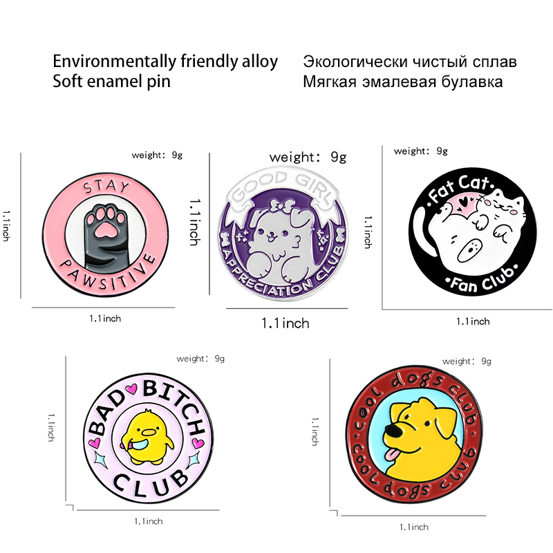 Adorable Family Members Enamel Pins Paw Dog Cat Chicken Pet Animal Jewelry Round Custom Brooches Lapel Pin For Friends Gift 2