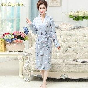 Image 5 - Kimono New Arrival Robe For Female Autumn Nightgown Cotton Bathrobe Women Pajamas Long Sleeve Pyjamas For Ladies Plus Size Robes