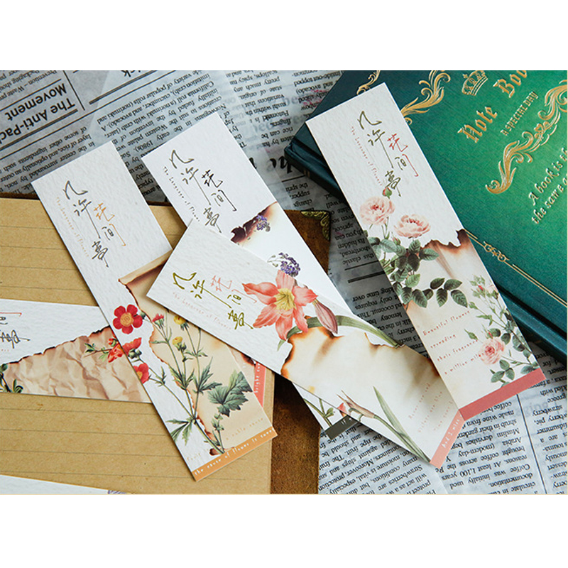 Office & School Supp. ... Calendars, Bookmark & Cards ... 32247370388 ... 5 ... 30Pcs/pack Cute Flower Vintage Plant Paper for Book Reading Maker Page Paper Bookmarks ...